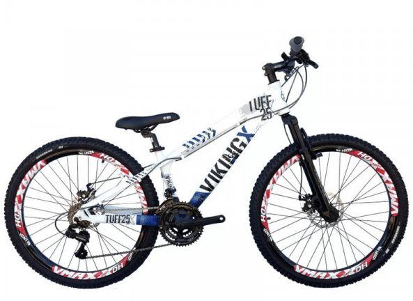 "Bicicleta Vikingx Tuff X-25 Aro 26 "", 18 Marchas –  Branca e Azul"