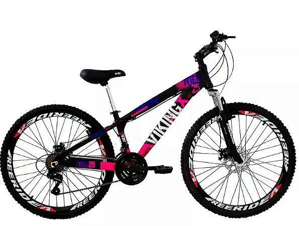 "Bicicleta Vikingx Tuff X-25 Aro 26 "", 18 Marchas –  Preto e Rosa"