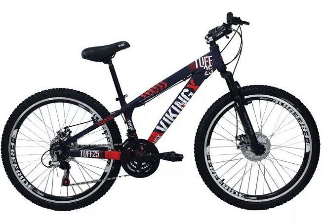 "Bicicleta Vikingx Tuff X-25 Aro 26 "", 18 Marchas –  Roxo e Laranja"