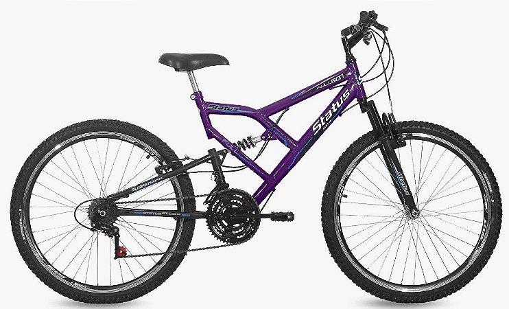 Bicicleta Status Full Aro 26″, 18 Marchas - Roxa