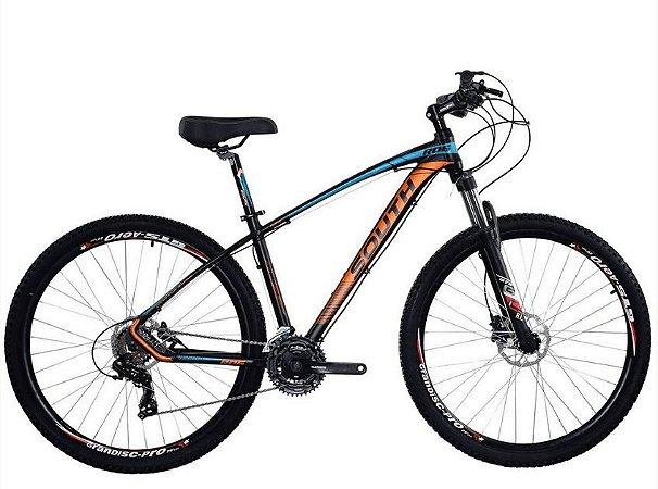 Bicicleta South New R06 29″, 21 Marchas – Preta / Laranja e Azul