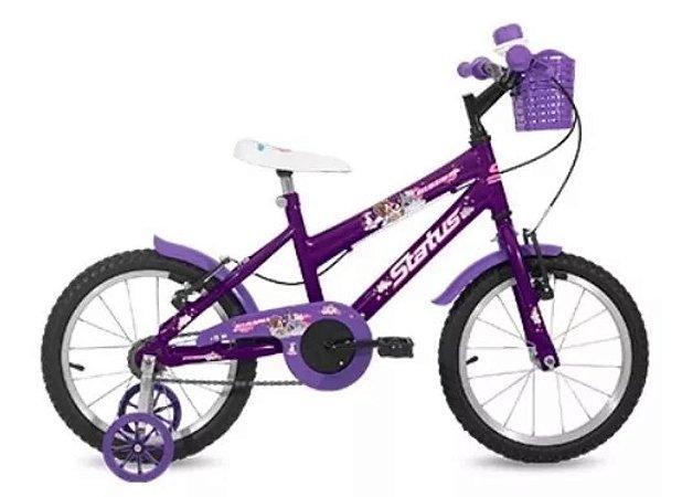 "Bicicleta Infantil Status Aro 16"" - Roxa"