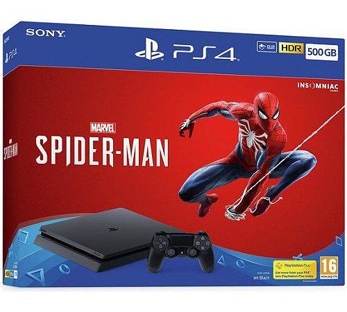 Console PS4 Slim 500GB com 2 Anos de Garantia e Jogo Spiderman