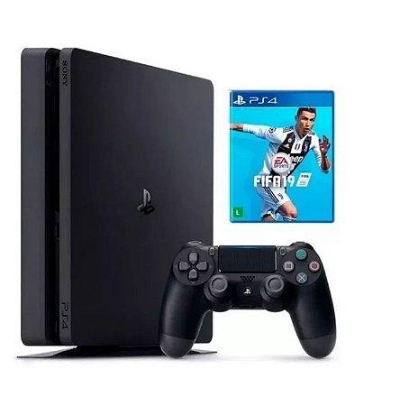 Console PS4 Slim 1TB com 2 Controles - 2 Anos de Garantia e FIFA 19