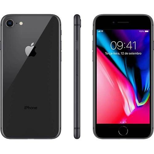 "iPhone 8 256GB Cinza Espacial Tela 4.7"" iOS 11 4G Câmera 12MP - Apple"