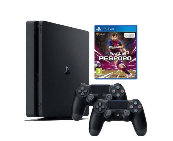 Console PS4 Slim 1TB  -  2 Anos de Garantia - 2 Controles + PES 2020