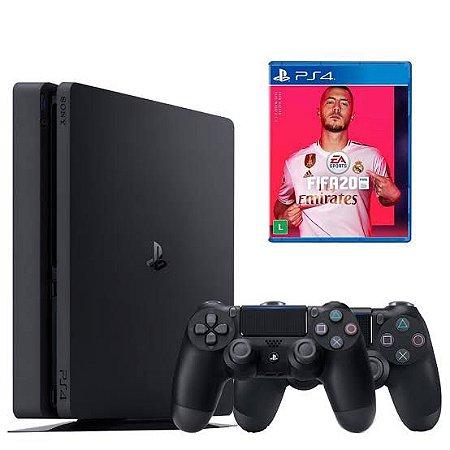 PLAYSTATION 4 500GB - 2 CONTROLE - FIFA 20 - 2 ANOS GARNTIA