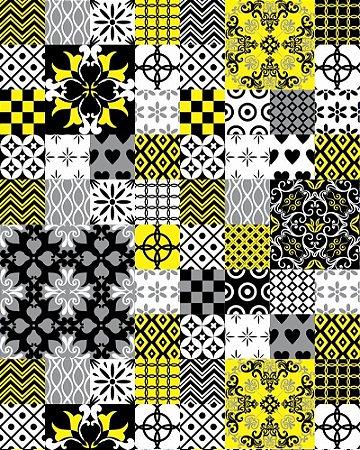 Papel de Parede Hidráulico em tons de Amarelo e Preto