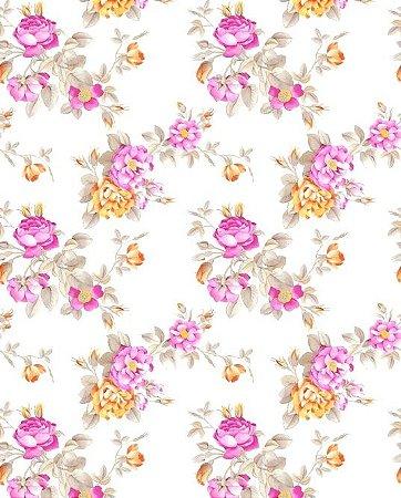 Papel de parede floral com flores rosas e laranjas