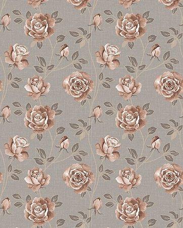Papel de parede floral em tons de bege e marrom