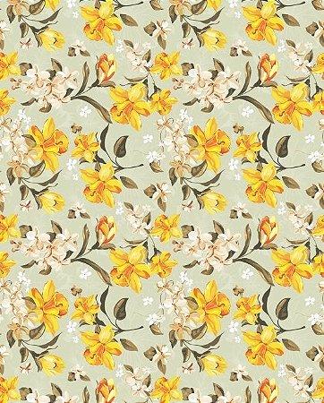 Papel de parede floral com flores amarelas