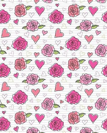 Papel de parede floral com rosas e corações
