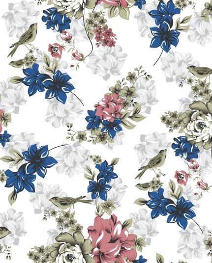 Papel de parede Floral com Flores Azuis em destaque