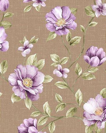 Papel de parede Floral com Flores Lilás e Fundo Marrom