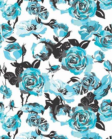 Papel de Parede Rosas Azul