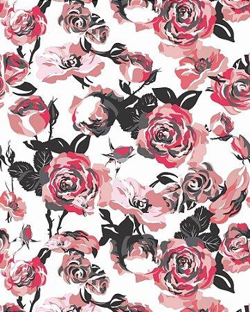 Papel de parede Floral com flores em tons de Rosa