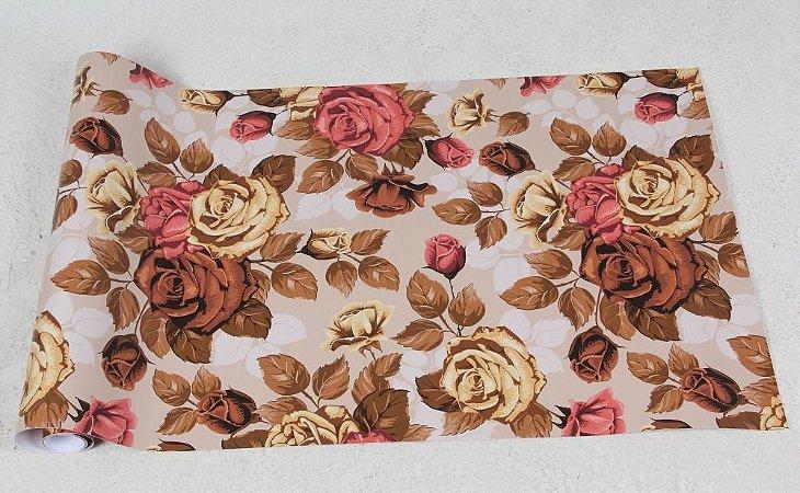 Papel de Parede Floral Com Tom Marrom