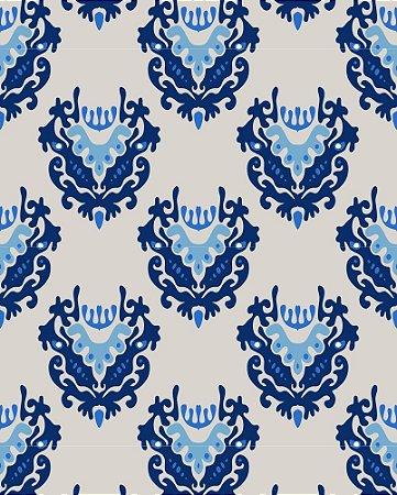 Papel de Parede Damask Cinza e tons de azul