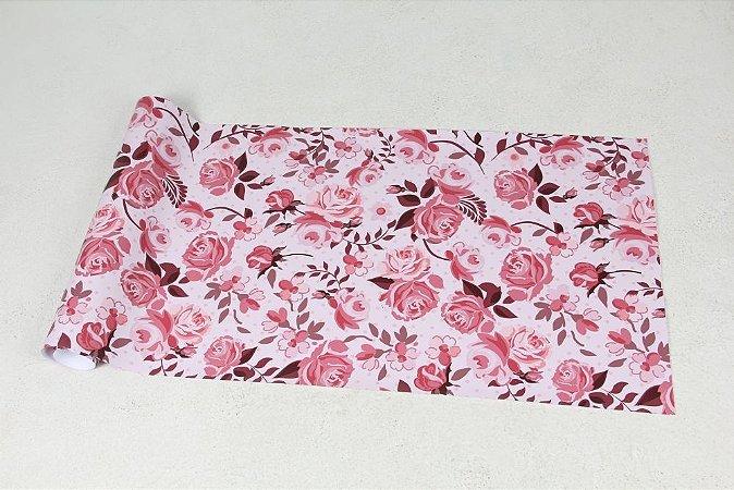 Papel de Parede Floral em Tons Variáveis de Rosa