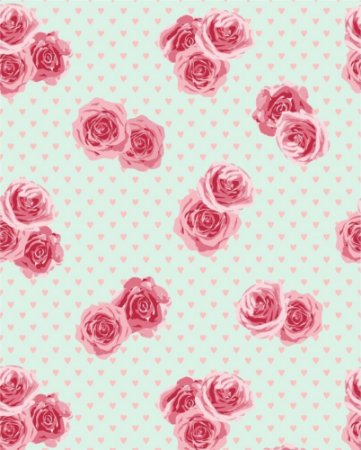 Papel de parede Floral com fundo verde e corações rosa