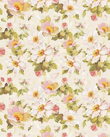 Papel de parede Floral com Fundo Bege