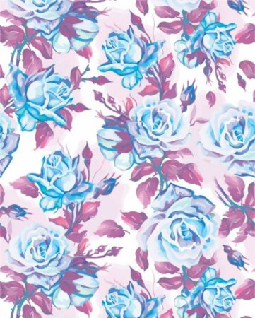 Papel de parede Floral com Rosas Azuis e Folhas Roxas