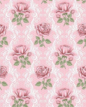 Papel de parede Floral com Rosas e Fundo em Poá