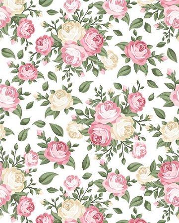 Papel de parede Floral com Flores Rosas e Amarelas