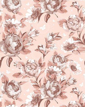 Papel de parede Floral Rosa Salmon