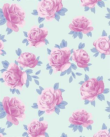 Papel de parede Floral Rosas com fundo Azul