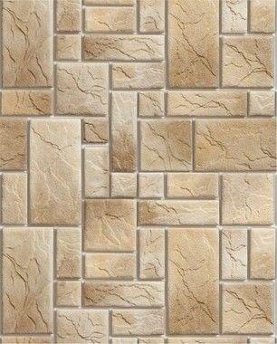 Papel de Parede Pedra Mosaico em tons de Bege e Marrom