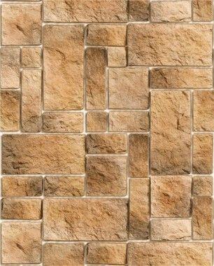 Papel de Parede Pedra Mosaico Rústica em tons de Marrom