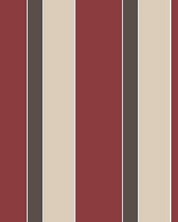 Papel de Parede estilo Listrado Vermelho, Bege e Marrom