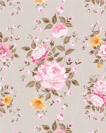 Papel de parede Floral com flores Rosa e fundo Marrom