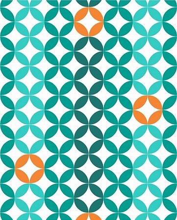 Papel de parede estilo Geométricos Verde e Laranja