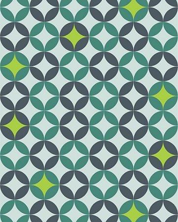 Papel de parede estilo Geométricos em tons de Verde