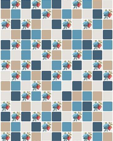 Papel de Parede Pastilhas Bege e Azul - 5cmts