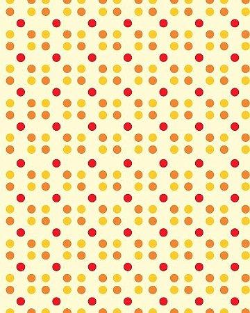 Papel de Parede Estilo Poá Amarelo, Laranja e Vermelho