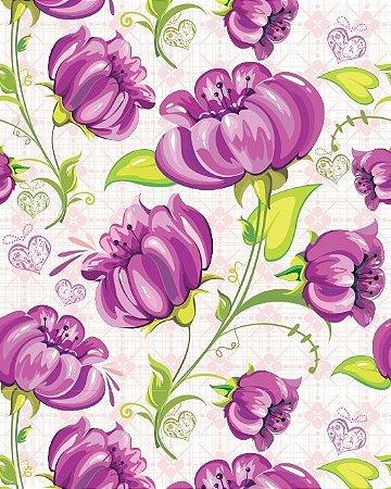 Papel de Parede Floral com flores e corações