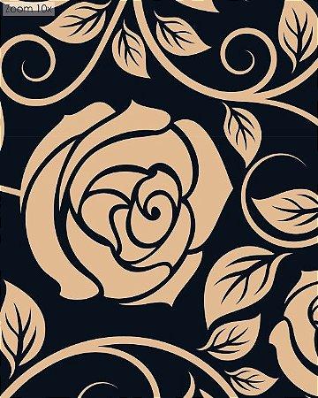 Papel de parede Floral com flores Bege e Fundo Preto