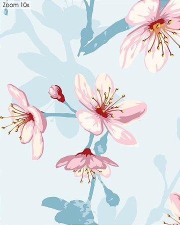 Papel de Parede Floral com Fundo Azul