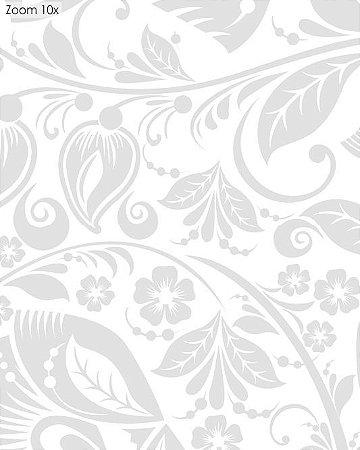 Papel de parede Floral Cinza, com Fundo Branco