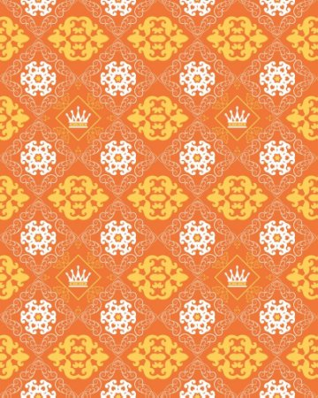 Papel de Parede Damask Orange