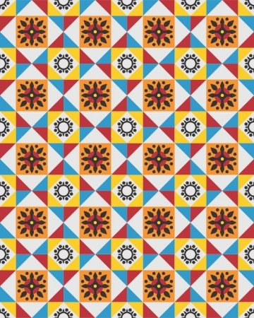 Azulejo Hidráulico com Ladrilhos Coloridos