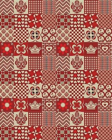 Azulejo Hidráulico em tons de Bege e Vermelho