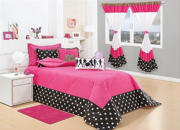 Kit Colcha Cobre Leito Fashion para Quarto de Menina Cor Pink