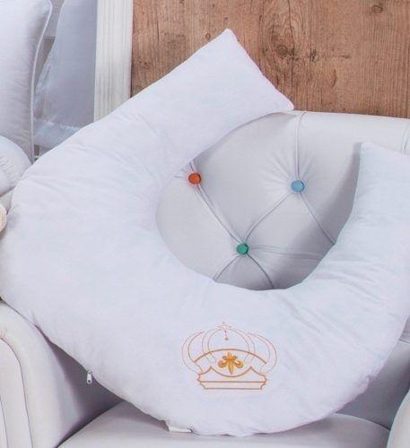 Almofada De Amamentação Naninha Para Bebê Coleção Real Coroa Principe Cor Branco