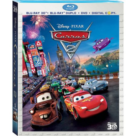 Blu ray 3d  Blu ray Duplo  Dvd  Copia Digital  Carros 2