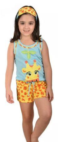 Baby Doll Infantil Filha Girafa Pijama Verão Curto