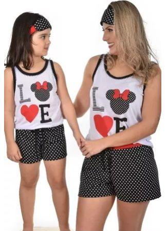 Kit 2 Baby Doll Mãe E Filha Minnie Love Pijama  - Preto